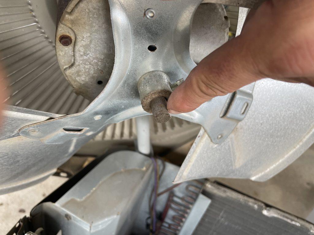The fan motor shaft